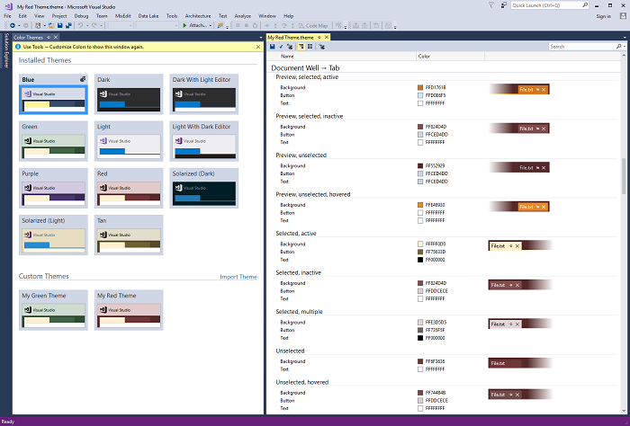 color theme editor for visual studio visual studio marketplace